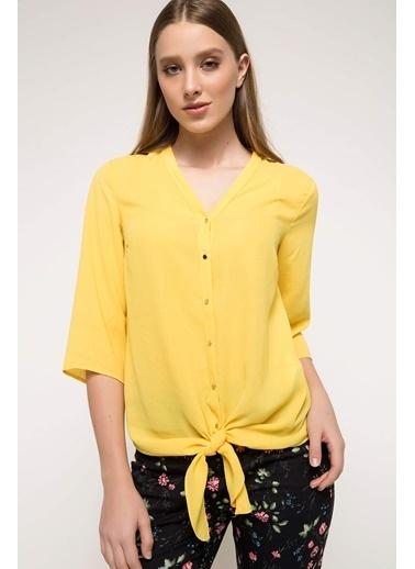 DeFacto Bağlama Detaylı Gömlek Sarı